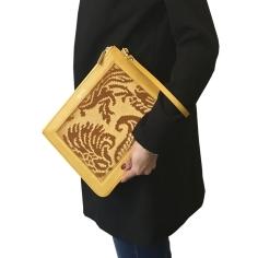 borsa pochette labolsina lafemme giallo broccato 2